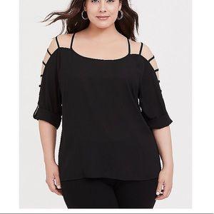 Torrid cold shoulder caged sleeve blouse